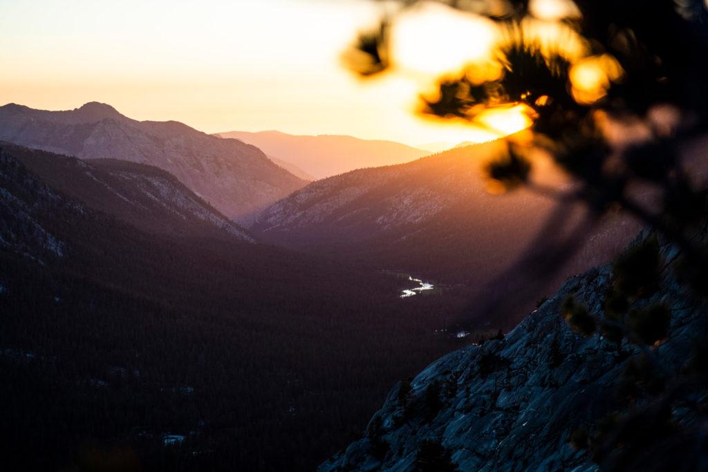 Sonnenuntergang über dem Evolution Valley