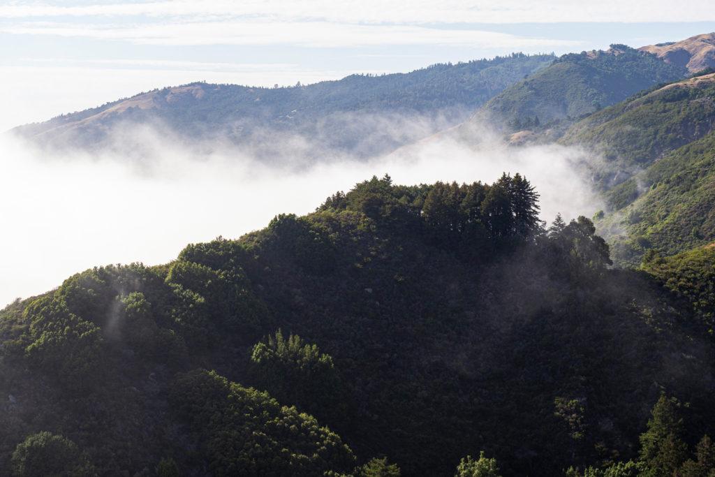Die Wolken ziehen vom Pazifik in die Berge des Big Sur State Parks hoch