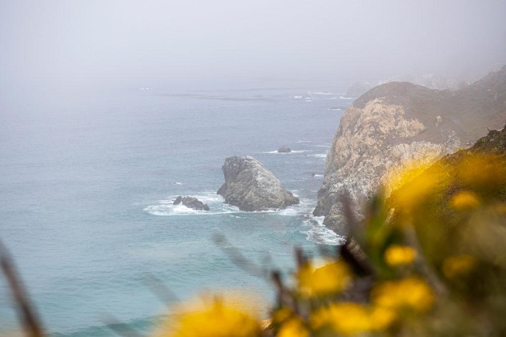 Trotz Nebel steige ich immer wieder aus, um einen Blick auf die schöne Küste zu erhaschen