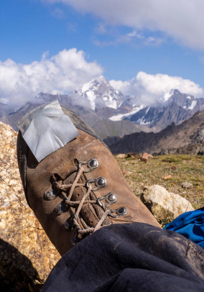 Kaputter Schuh in Kirgistan